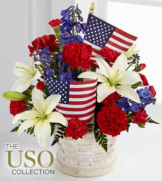 Patriotic Flower Bouquet with American Flags
