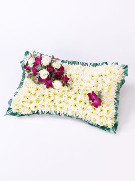 White Funeral Casket Pillow of Flowers