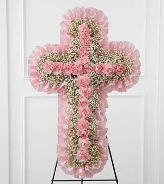 Pink Funeral Flower Cross