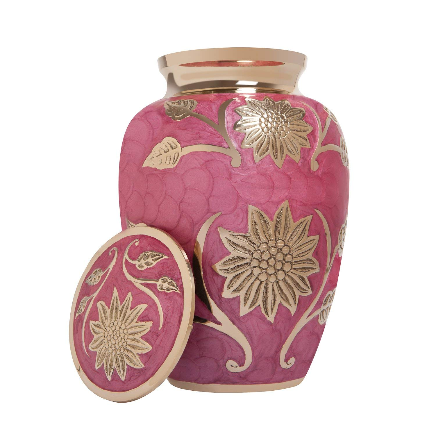 Pink Floral Cremation Urn in Brass
