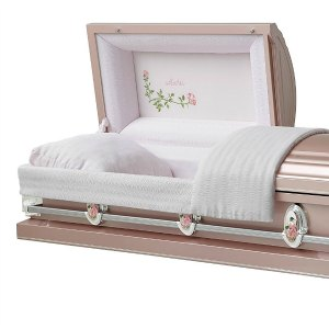Funeral casket with roses