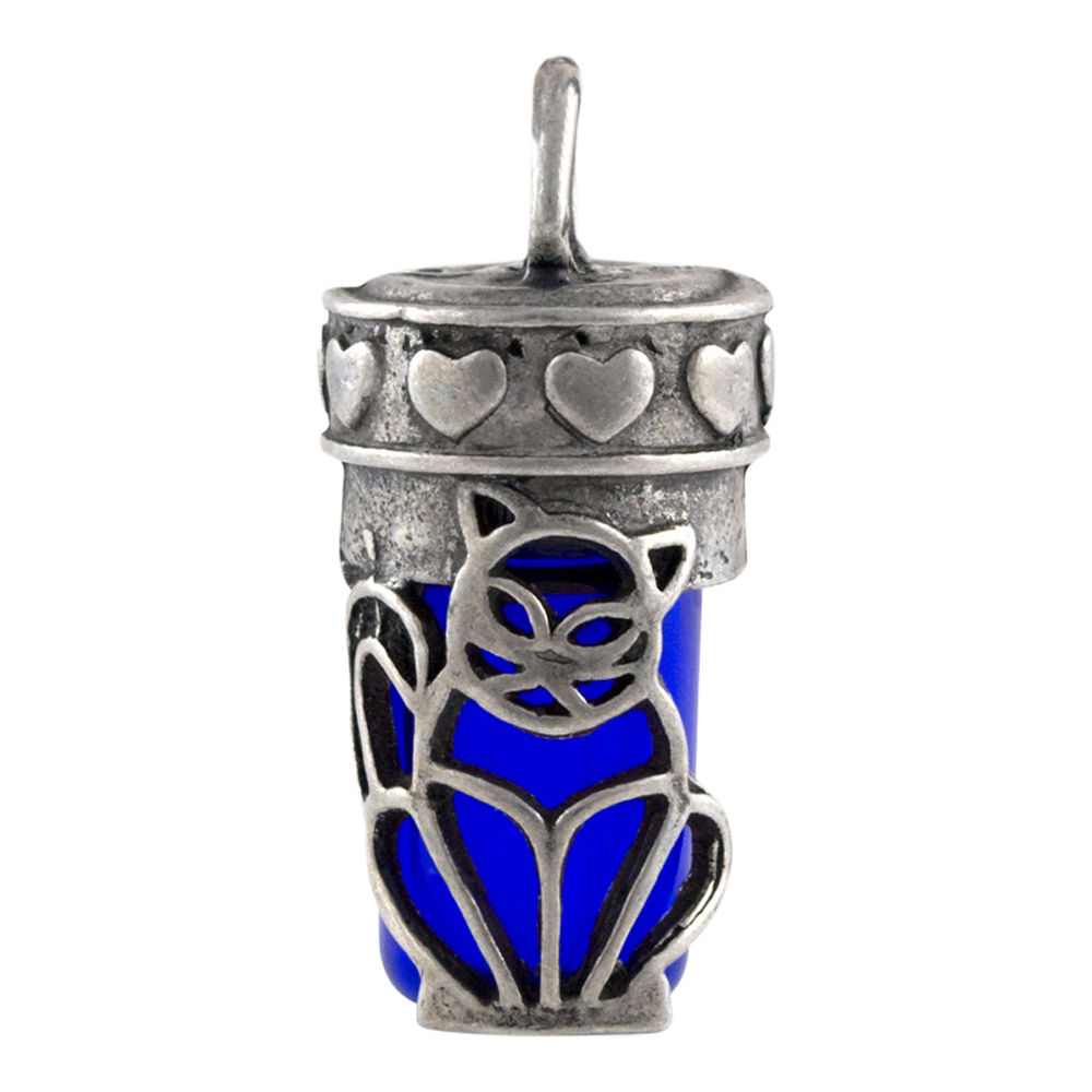 Cat Cremation Urn Pendant, Blue