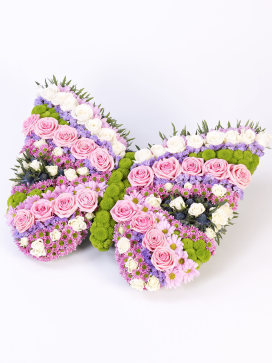 Funeral Bouquet in the Shape of a Butterfly with Pink Roses