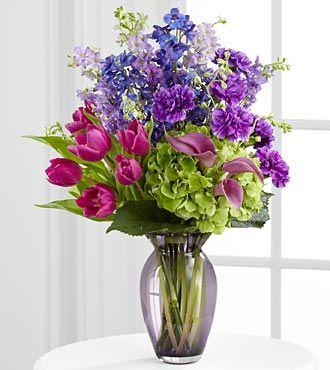 Sympathy Bouquet with Deep Rich Colours Purple, Blue