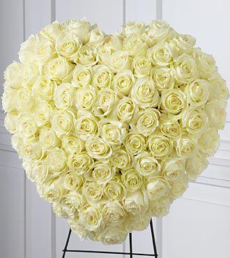 White Roses Heart Wreath