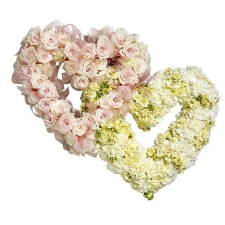 Heart Shaped Funeral Wreaths Pink and Cream