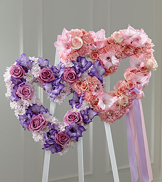 Pink and Purple Heart Funeral Flowers