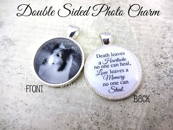Pet Loss Charm with Dog and Moving Saying