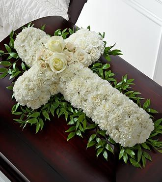 Funeral Flower Cross with White Chrysanthemums and Roses