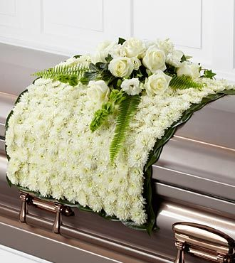White Blanket of Flowers for a Casket