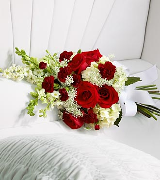 Red and White Casket Bouquet