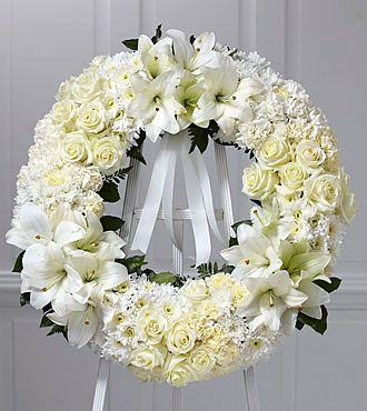 cream funeral wreath