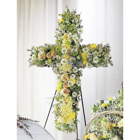 Funeral Cross Flower Arrangement, yellow, cream and white on easel