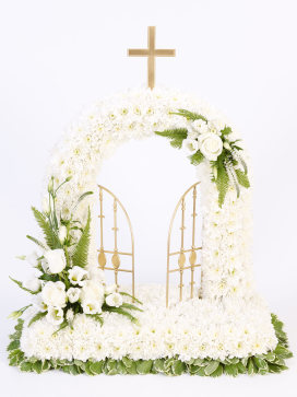 Gates of Heaven Flower Arrangement with Cross