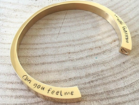 Gold engraved cremation bracelet