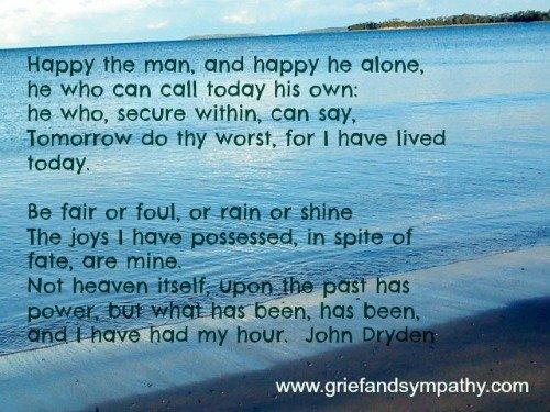 Happy the Man poem with beach photo