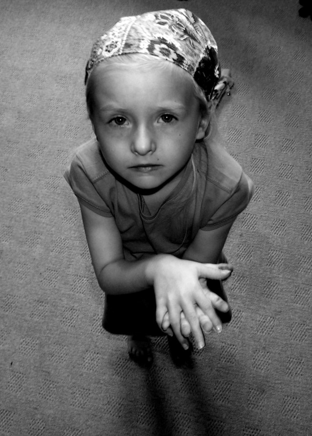 Little Girl in Headscarf After Chemotherapy for a Brain Tumour