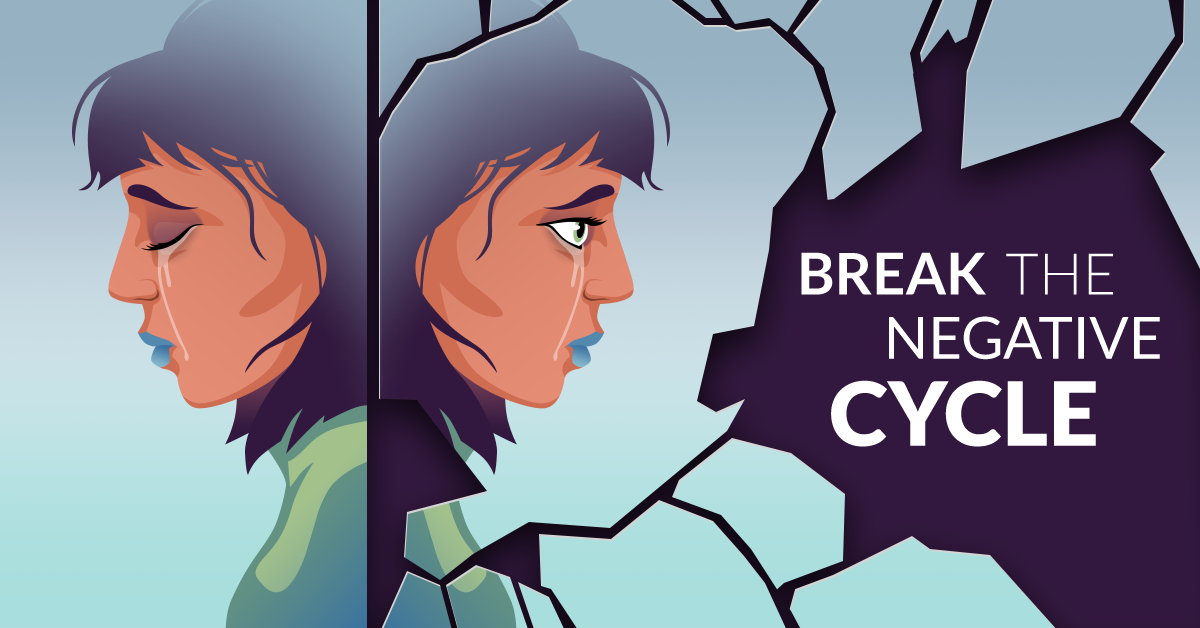 Two heads of a girl crying.  Text - Break the Negative Cycle