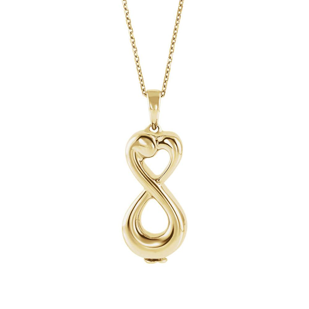Gold infinity ash holder pendant.