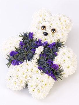 Teddy Bear Flower Arrangement in White and Purple