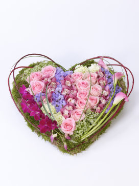 Pink Heart Shaped Funeral Flowers for a Child