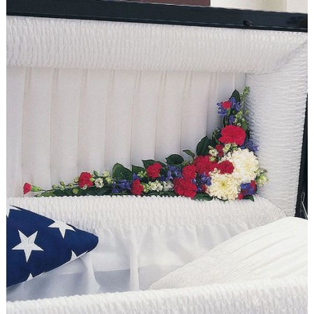Red, white and blue patriotic funeral casket hinge adornment flower arrangement