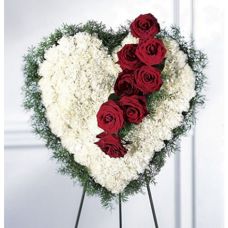 Heart Shaped Standing Wreath with White Carnations and Red Roses