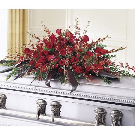 Red Funeral Casket Flowers