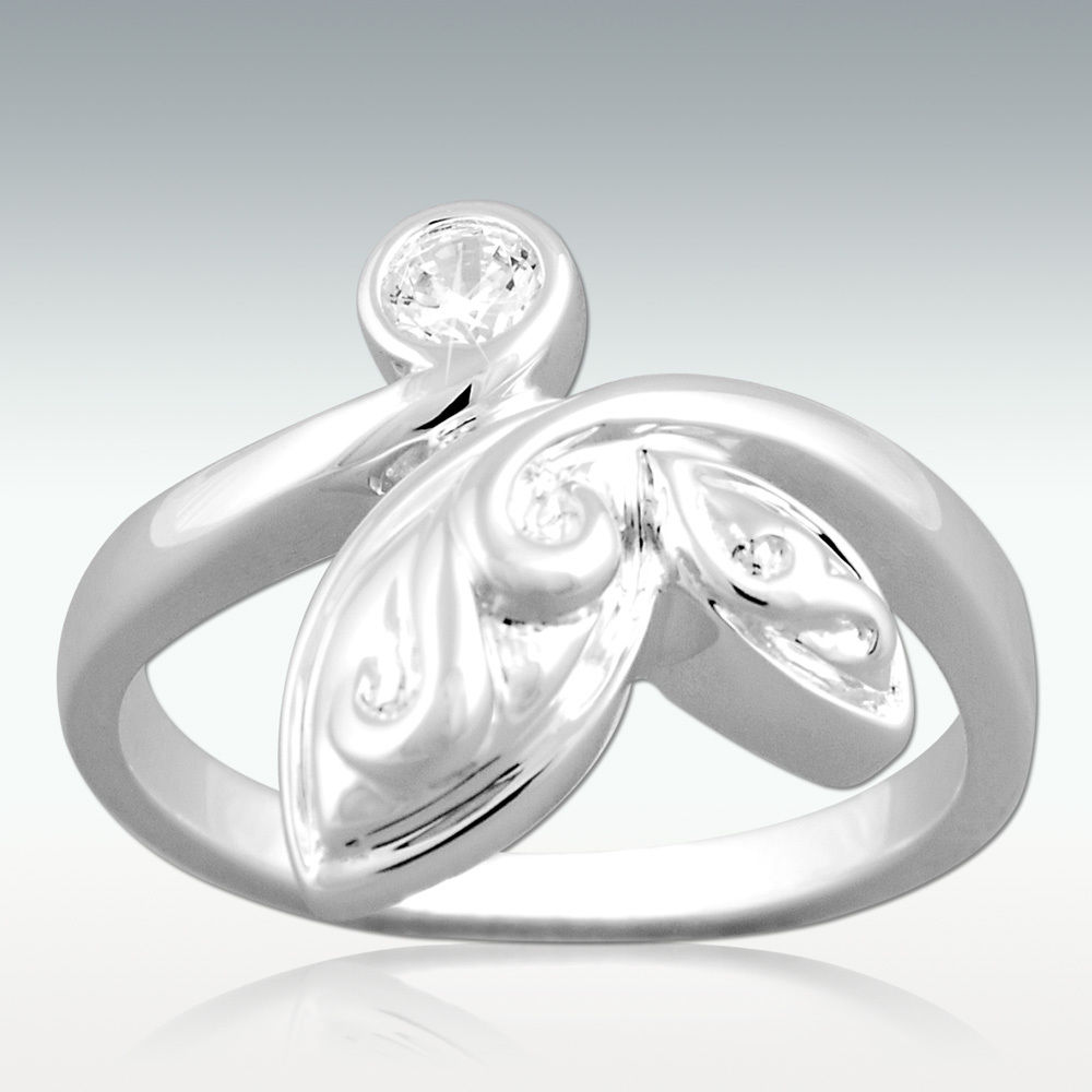New Leaf Cremation Ring in Silver