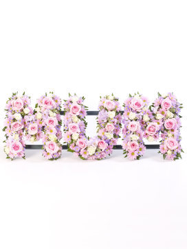 Funeral Flower Arrangement for Mum with Pink Letters