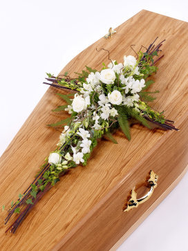 Country Style Cross Casket Flowers with White Orchids and Roses