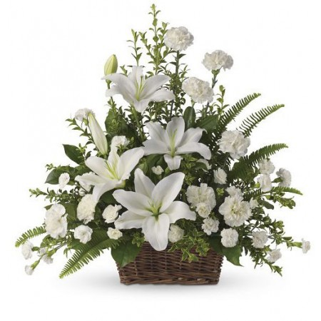White Lilies Basket Funeral Flowers