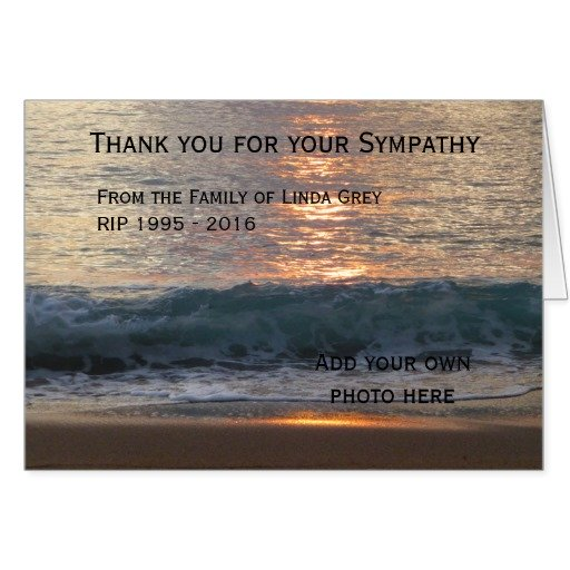 Personalised Thank You For Your Sympathy Card With Ocean Sunrise  Condolence Sample Note
