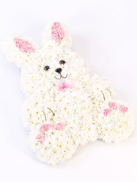 Rabbit Floral Arrangement in White with Pink accents