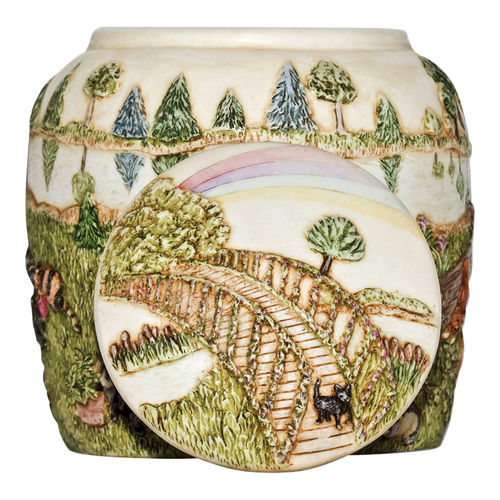 Ceramic Rainbow Bridge Cat Cremation Urn by Perfect Memorials