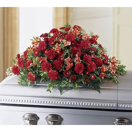 Red carnation funeral flowers