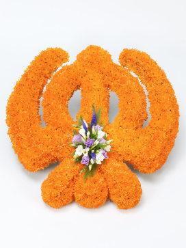 Sikh Khanda Symbol Funeral Flower Arrangement with Orange Chrysanthemums and Freesias