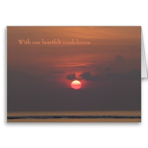 Sympathy Card With our HeartFelt Condolences, Moon over Sea