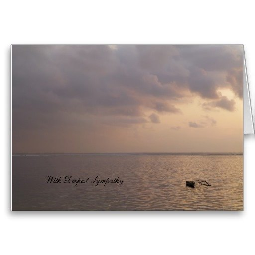 With Deepest Sympathy Card, little boat on the ocean, pale purple colours