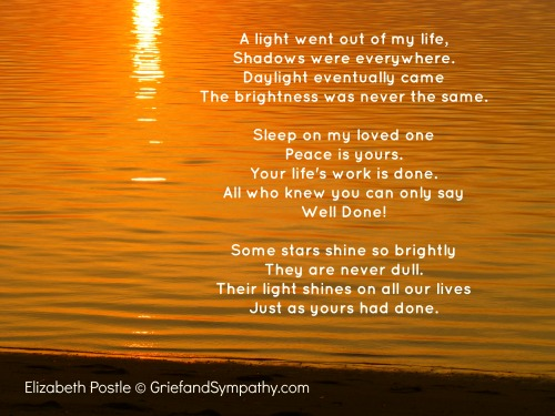 Their Light Shines On - A Poem about the Loss of Her Husband by Elizabeth Postle.  Background Orange Sun over sea