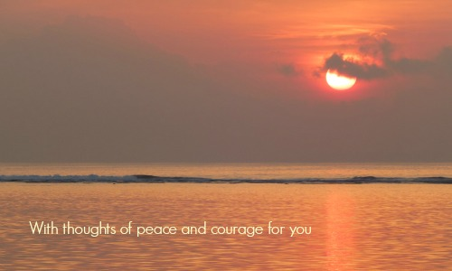 Sympathy Card Sunset With Thoughts of Peace and Courage