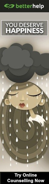 Girl Under a Rain Cloud with Text You Deserve Happiness. Try Online Counselling Now