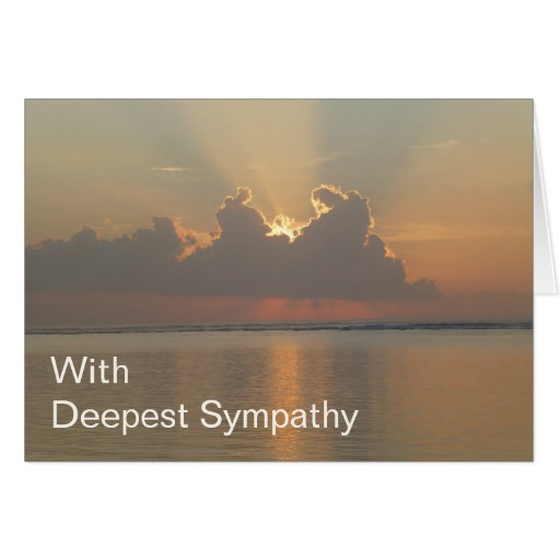 With Deepest Sympathy Card showing sunrise over the ocean