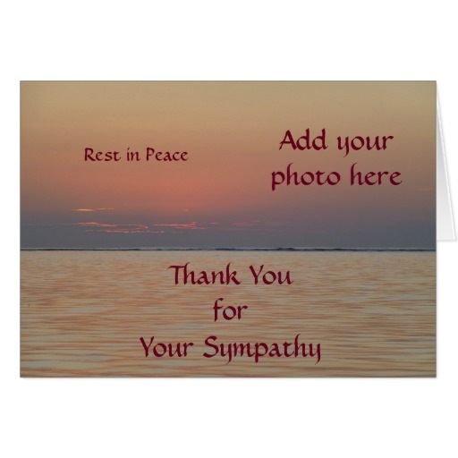 Greeting Card Rest in Peace Customisable with Orange coloured ocean view