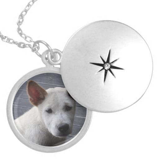 Silver pet loss photo locket