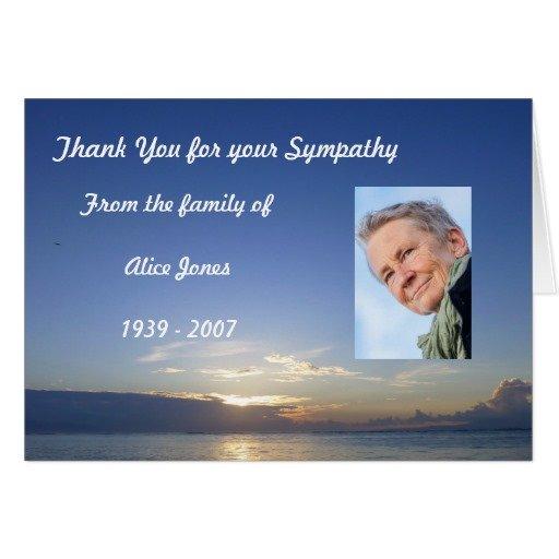 Custom Sympathy Thank You Card, Blue Sea