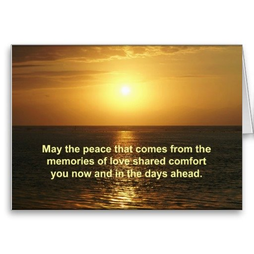 Sympathy Card Orange Sunrise Text   May The Peace That Comes From The  Memories Of Love  Funeral Words For Cards