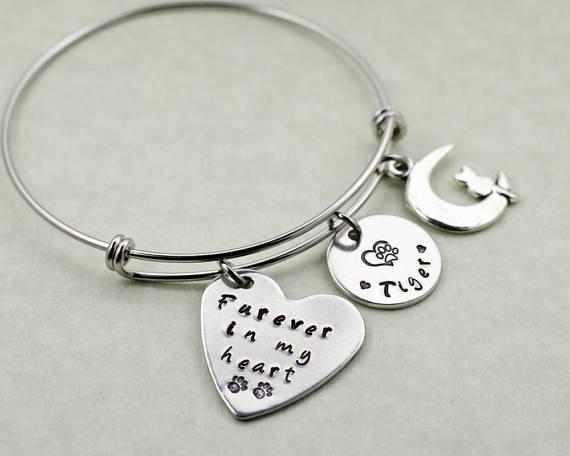 Pet Memorial Bracelet with engraved charms