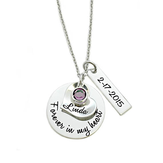 engraved memorial necklace - forever in my heart