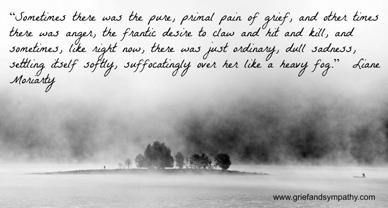 Grief quote about anger on photo of fog by Martin Barák on Unsplash